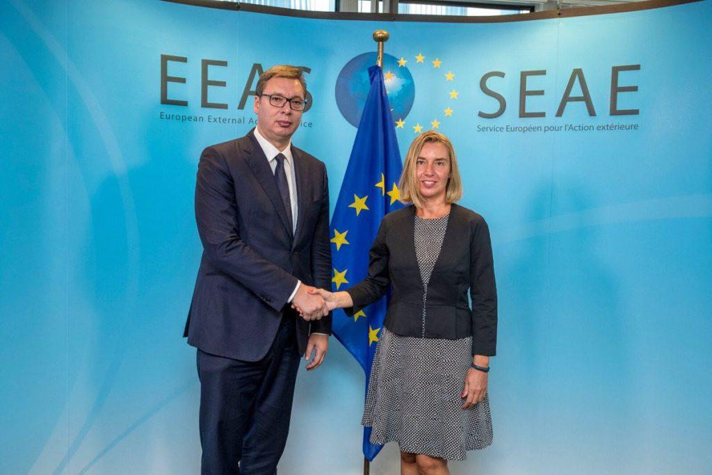 SASTANAK U BRISELU Vučić stigao u sedište EU za spoljne poslove, prvo sa Mogerini