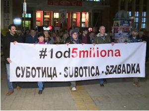 """Protesti """"Jedan od pet miliona"""" širom Srbije"""