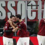 Fudbaleri Milana na meču sa Laciom