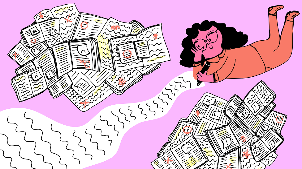 Illustration of woman writing