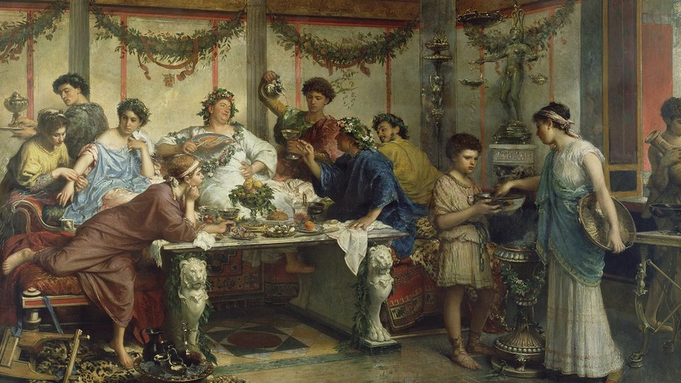A 19th Century painting of the Roman feast of Saturnalia by the Italian artist Roberto Bompiani.